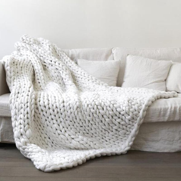 Chunky Knitted Blanket White / 60 X 60 (cm)