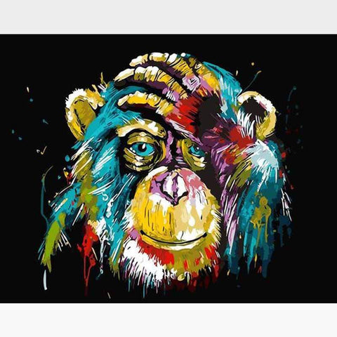 Rainbow Monkey Paint-By-Numbers Kit