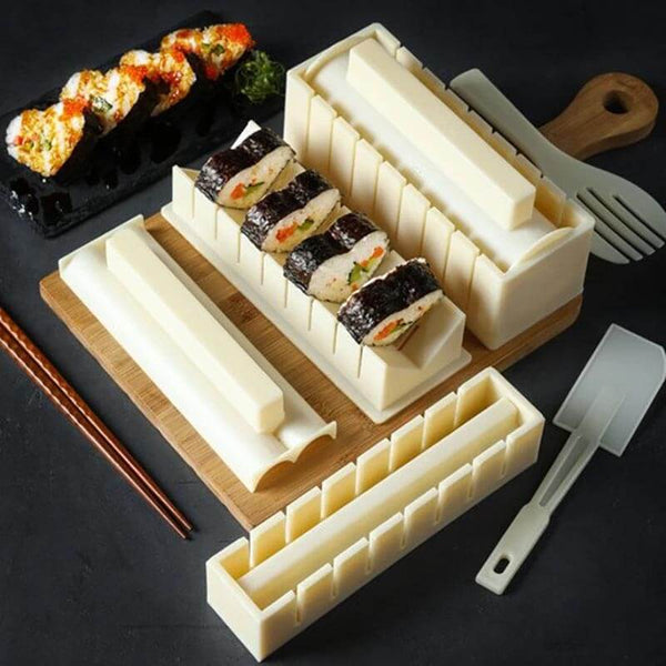 OishiSushi™ All-In-One DIY Sushi Making Kit (4 Roll Shapes) Beige