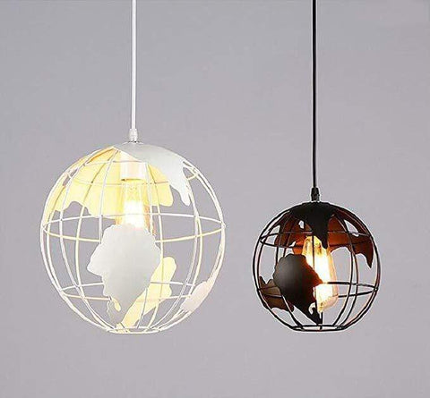 World Map Globe Pendant Light White