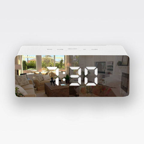 Lumina LED Mirror Alarm Clock Rectangle
