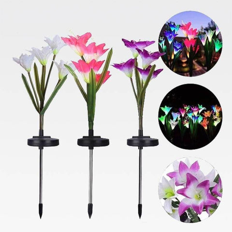 Lily Solar Garden Lights Purple