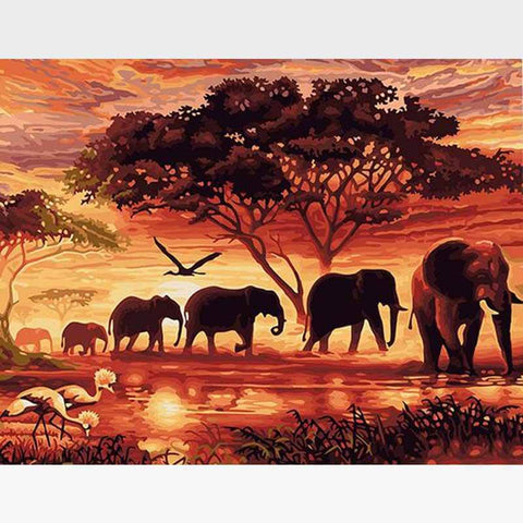 Sunset Safari Paint-By-Numbers Kit