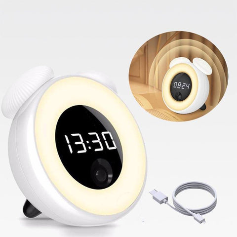 IntelliNight™ Wireless Smart LED Night Light & Alarm Clock WHITE