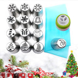 BakeAid™ Original Flower Russian Icing Piping Tip Sets Special Christmas Edition (15 Pieces)