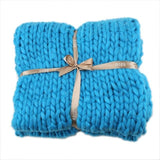 Chunky Knitted Blanket Blue / 60 X 60 (cm)