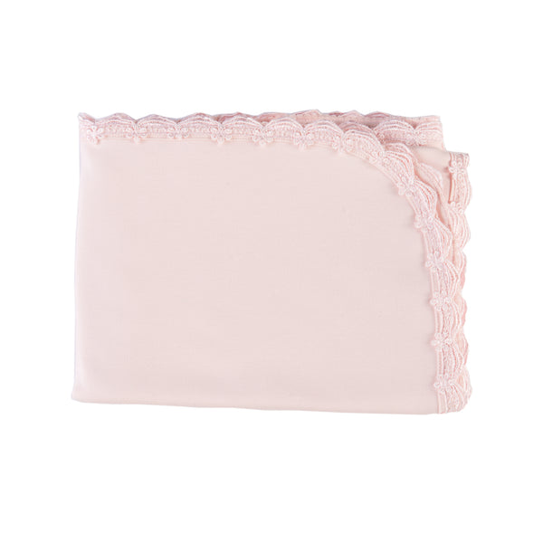 Receiving Blanket Pink Scalloped Lace