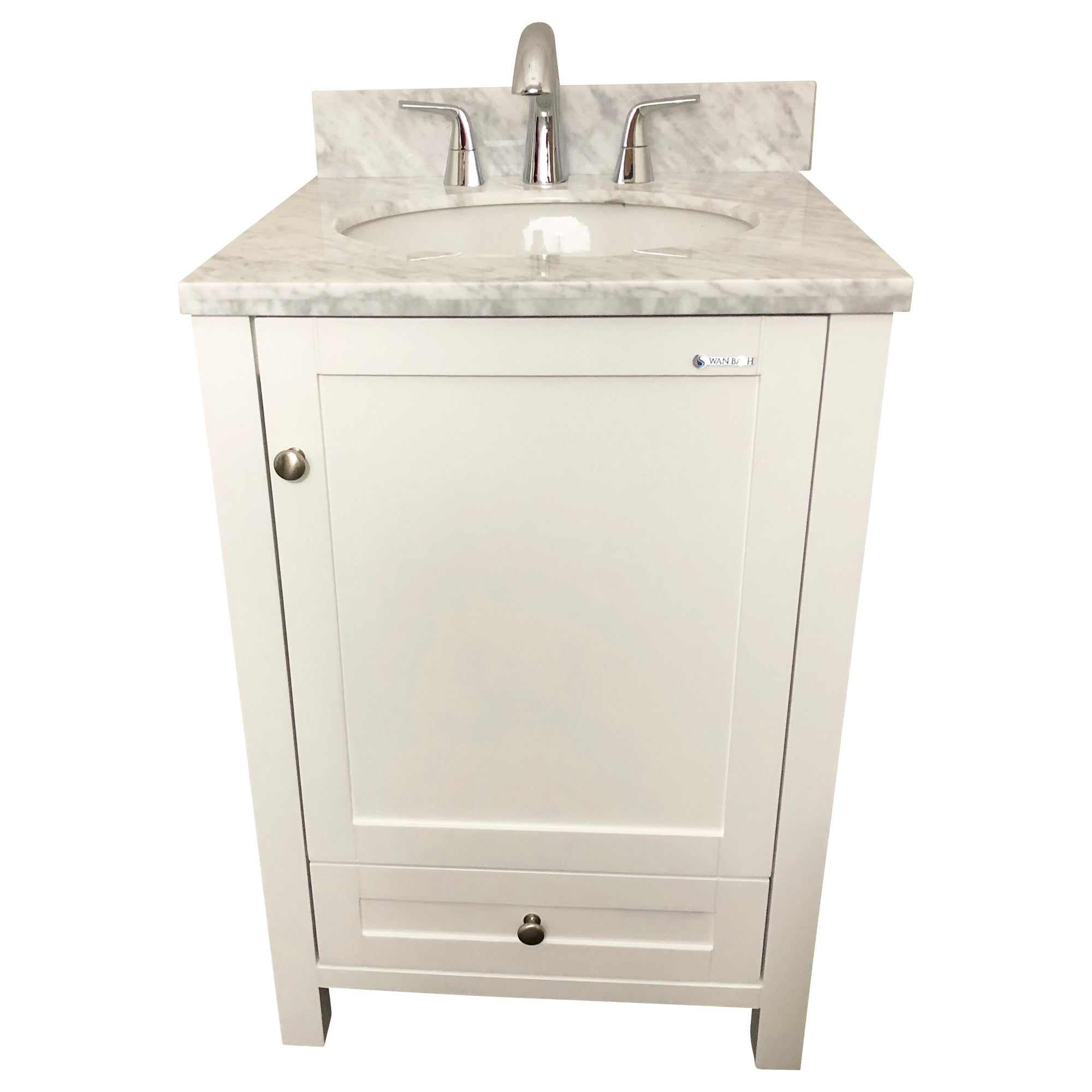 24 inch Solid Wood White Bathroom Vanity Cabinet with a drawer
