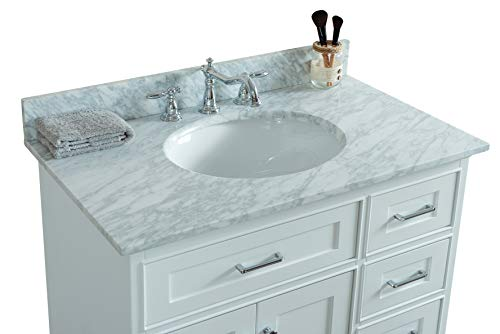 36 x 22 Inches Natural Marble Carrara Marble Top with back splash