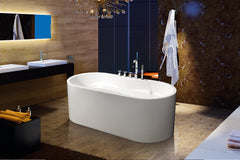Modern Glossy White Freestanding Acrylic Bathtub with Drainage & Overflow,(faucet included