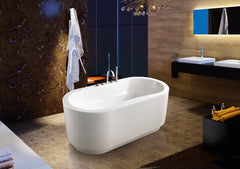 Bathroom Contemporary Freestanding Tub Pure White Acrylic Bathtub with Brushed Nickel Drainage