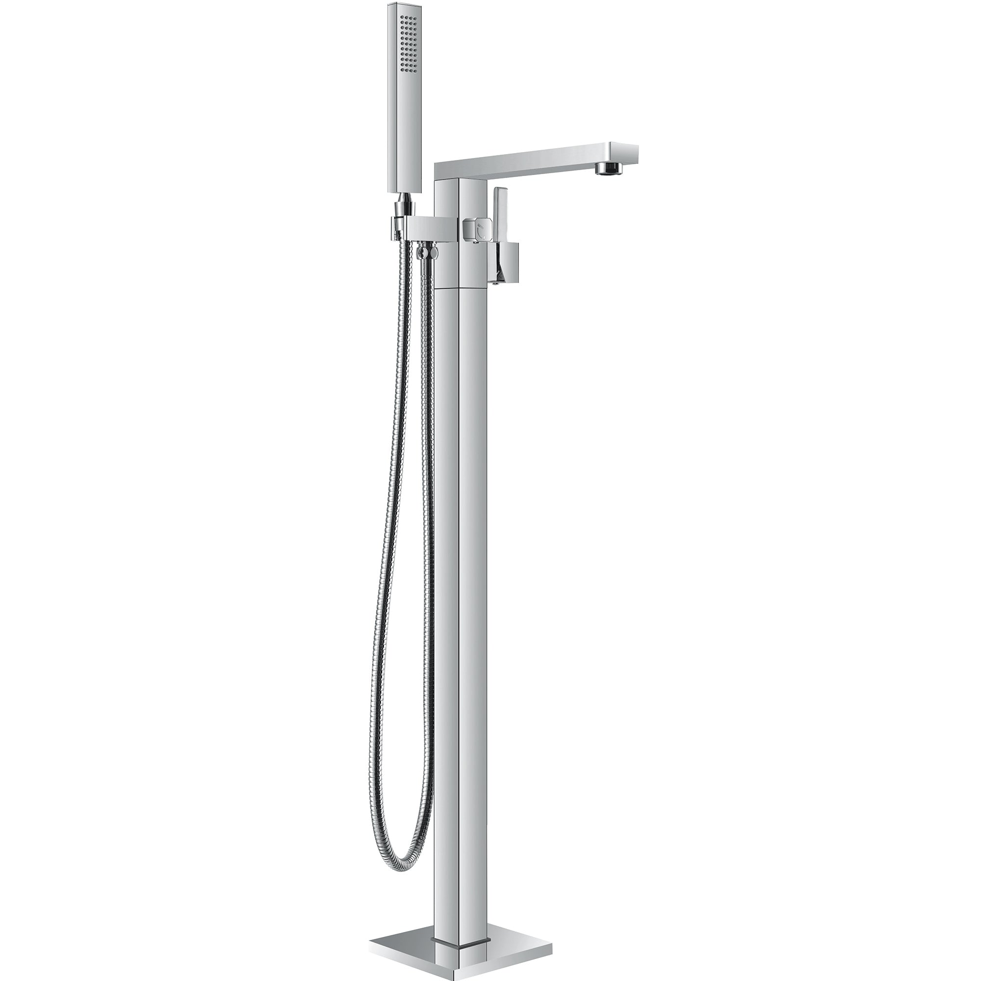Brushed Nickel Free Standing Bathroom Shower Mixer Taps Floor ...