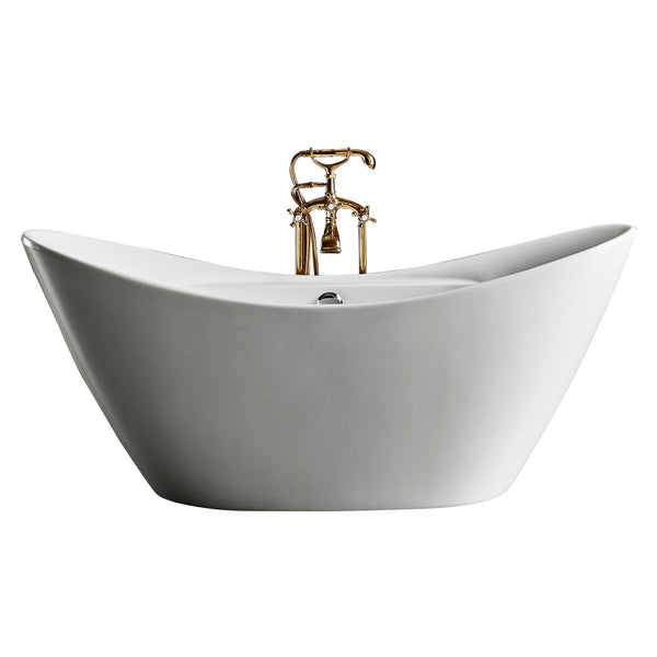 Freestanding Bathtub, 100% Pure Acrylic Soaking Tub with Brush Nickel Drainage and Overflow, CUPC Certified, High Gloss White Color