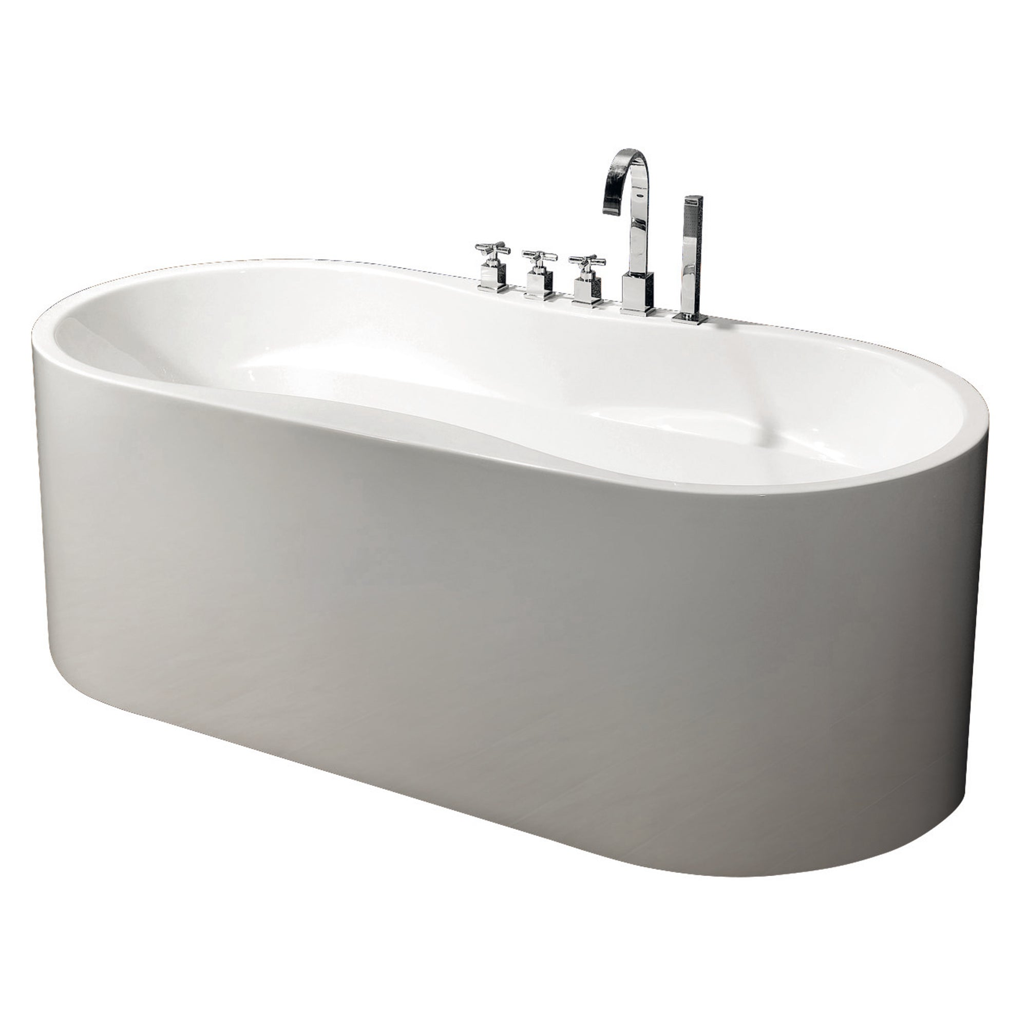 Modern Glossy White Freestanding Acrylic Bathtub with Drainage ...