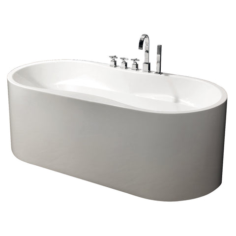 Modern Glossy White Freestanding Acrylic Bathtub with Drainage & Overflow