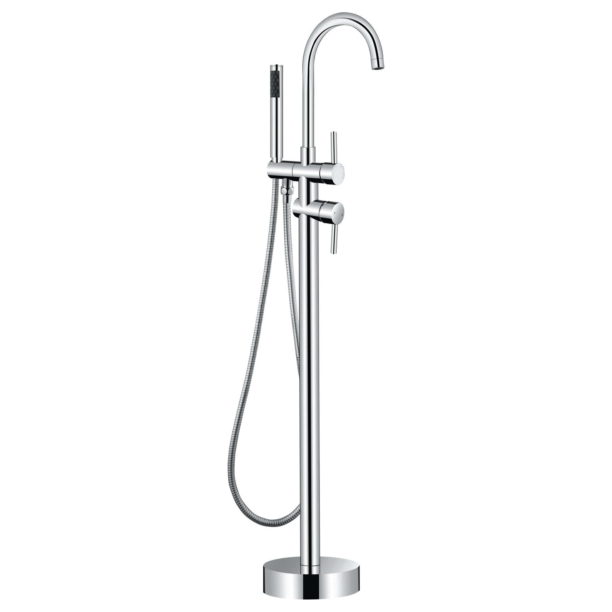 Brushed Nickel Free Standing Bathroom Shower Mixer Taps Floor Mounted Bathtub Shower Faucets withSingle Hand Sprayer