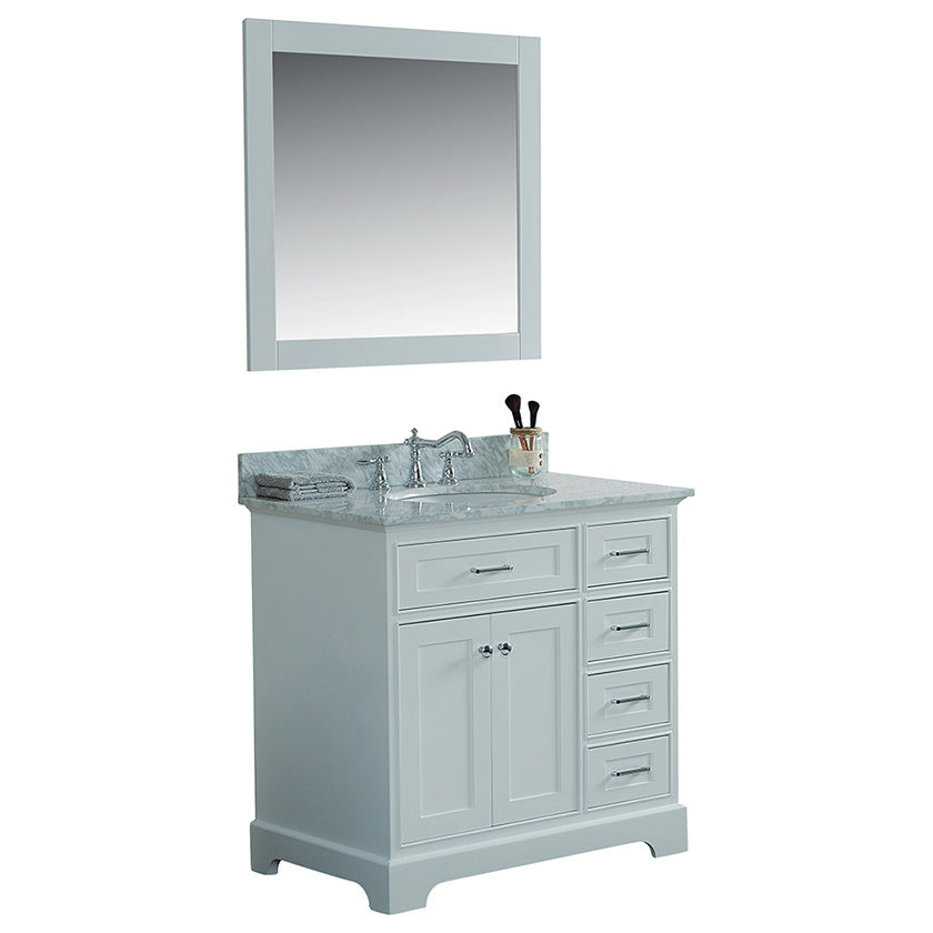 36 Inch Solid Wood Bathroom Vanity Cabinet In White With Carrara