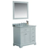 36 inch Solid Wood Bathroom Vanity cabinet in white with Carrara Marble Countertop