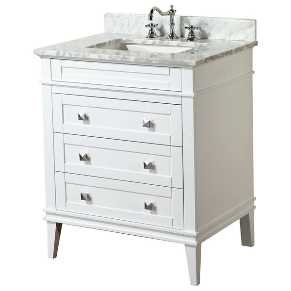 30 inch Solid Wood White Bathroom Vanity Cabinet with drawers