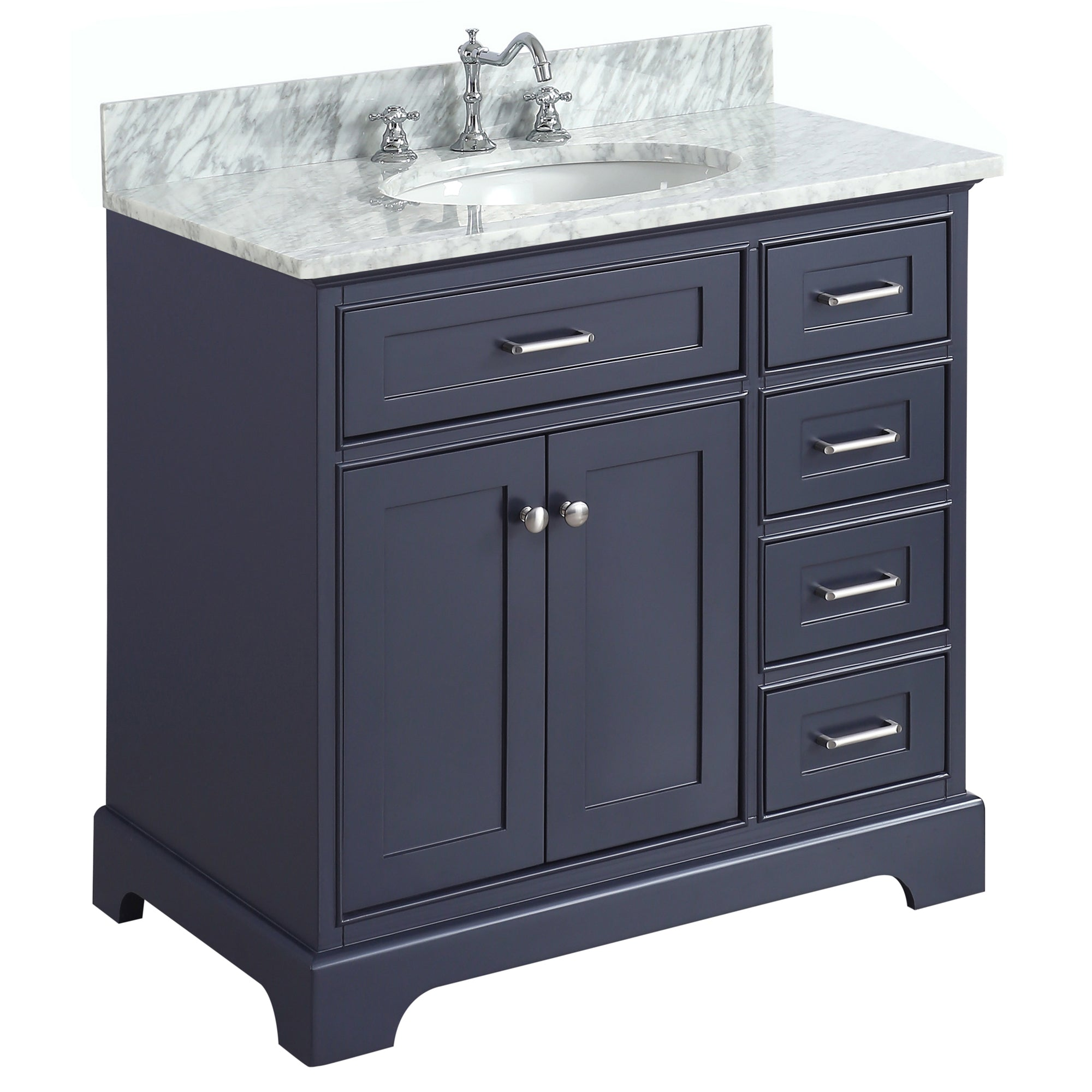 36 Inch Solid Wood Bathroom Vanity Cabinet In Grey/charcoal