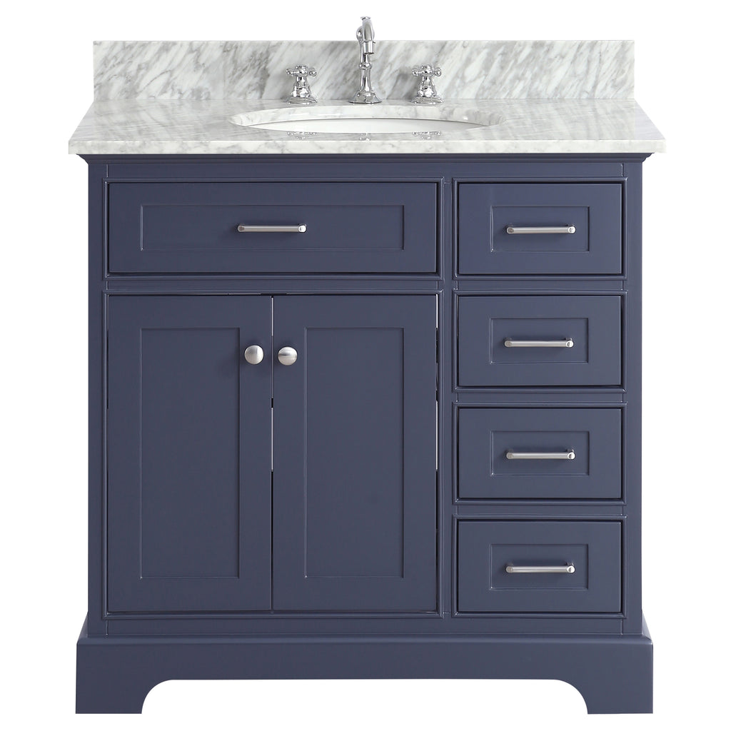 36 inch Solid Wood Bathroom Vanity cabinet in grey/charcoal – Swanbath