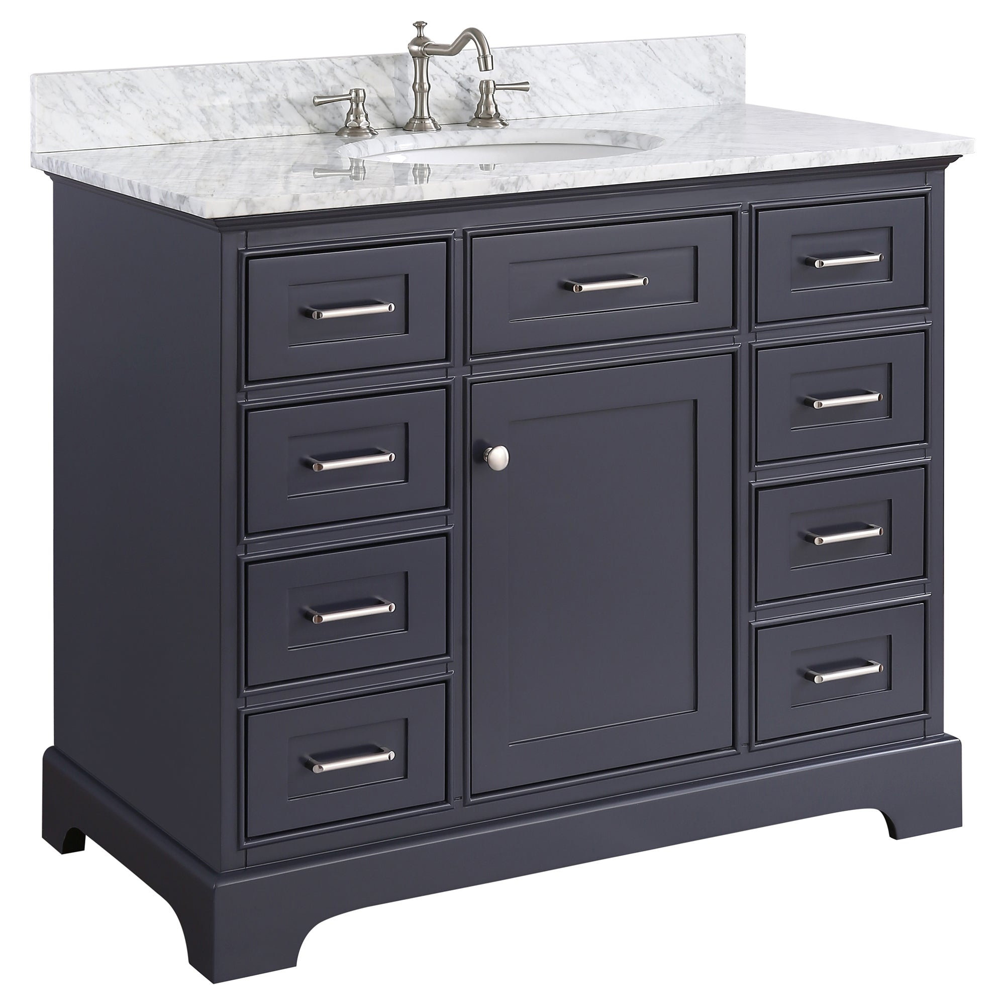 Superbe 42 Inch Solid Wood Bathroom Vanity Cabinet In Grey/charcoal