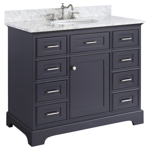 42 inch Solid Wood Bathroom Vanity Cabinet in grey/charcoal