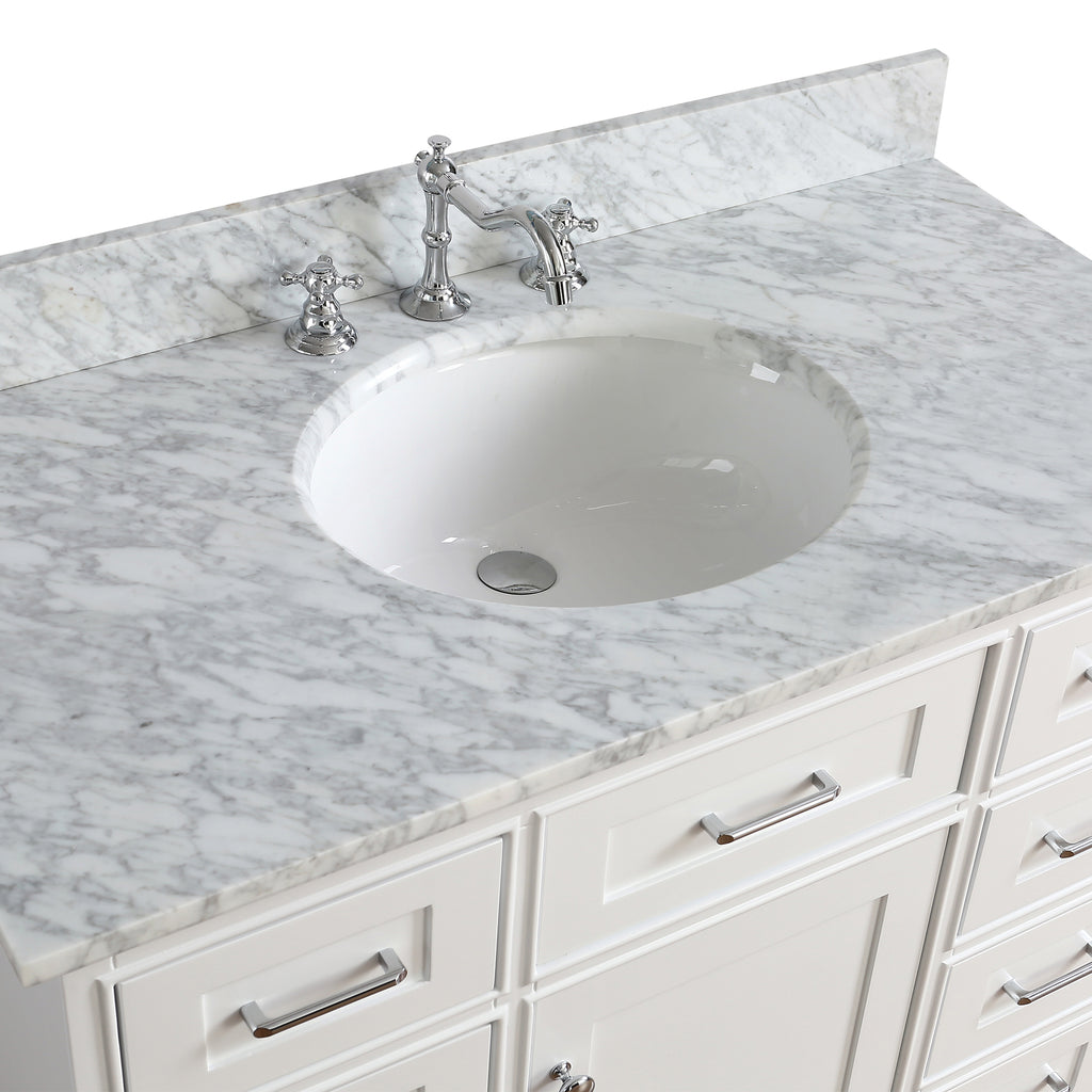42 inch Solid Wood white Bathroom Vanity Cabinet with Carrara Marble ...