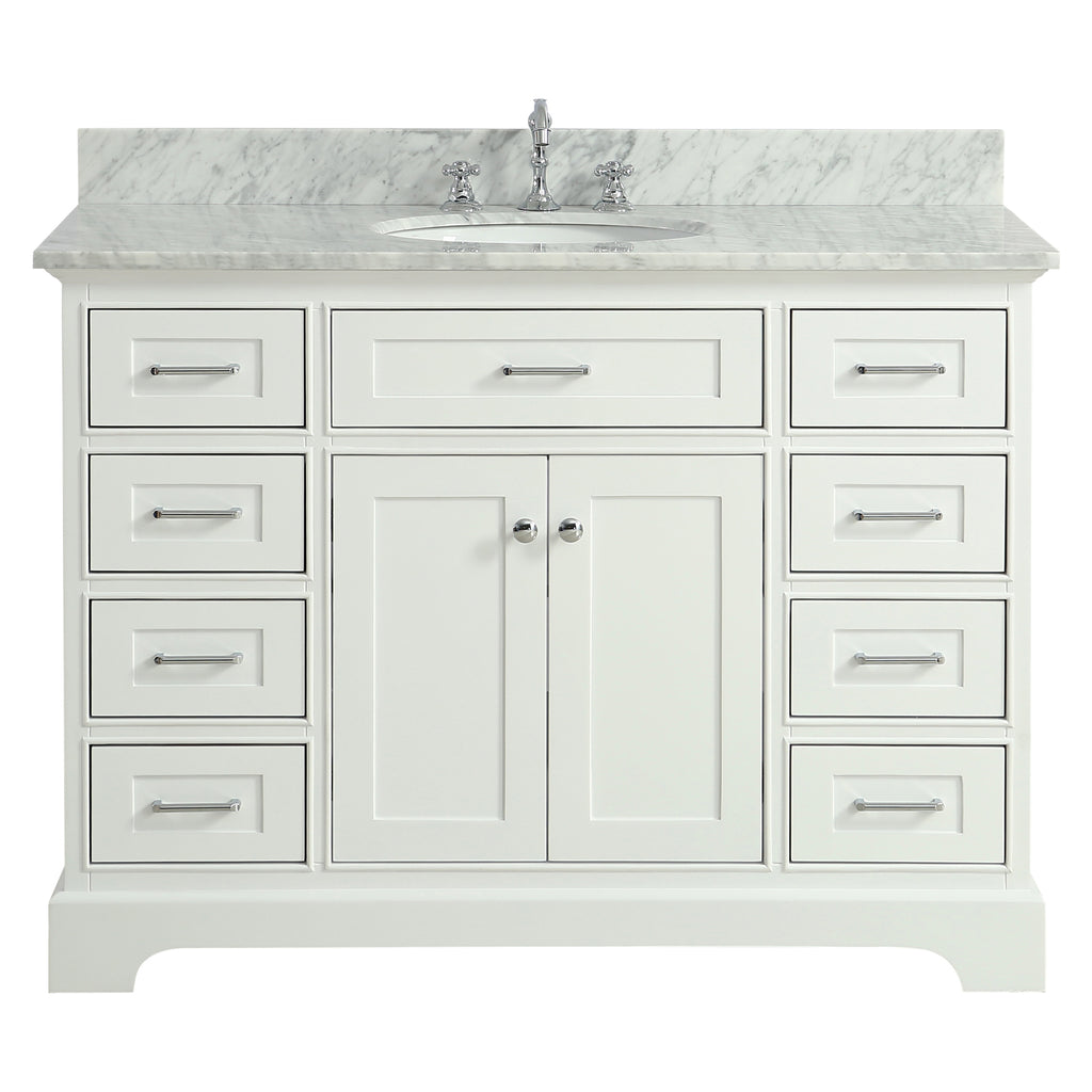 48 inch Solid Wood White Bathroom Vanity Cabinet with Natural ...