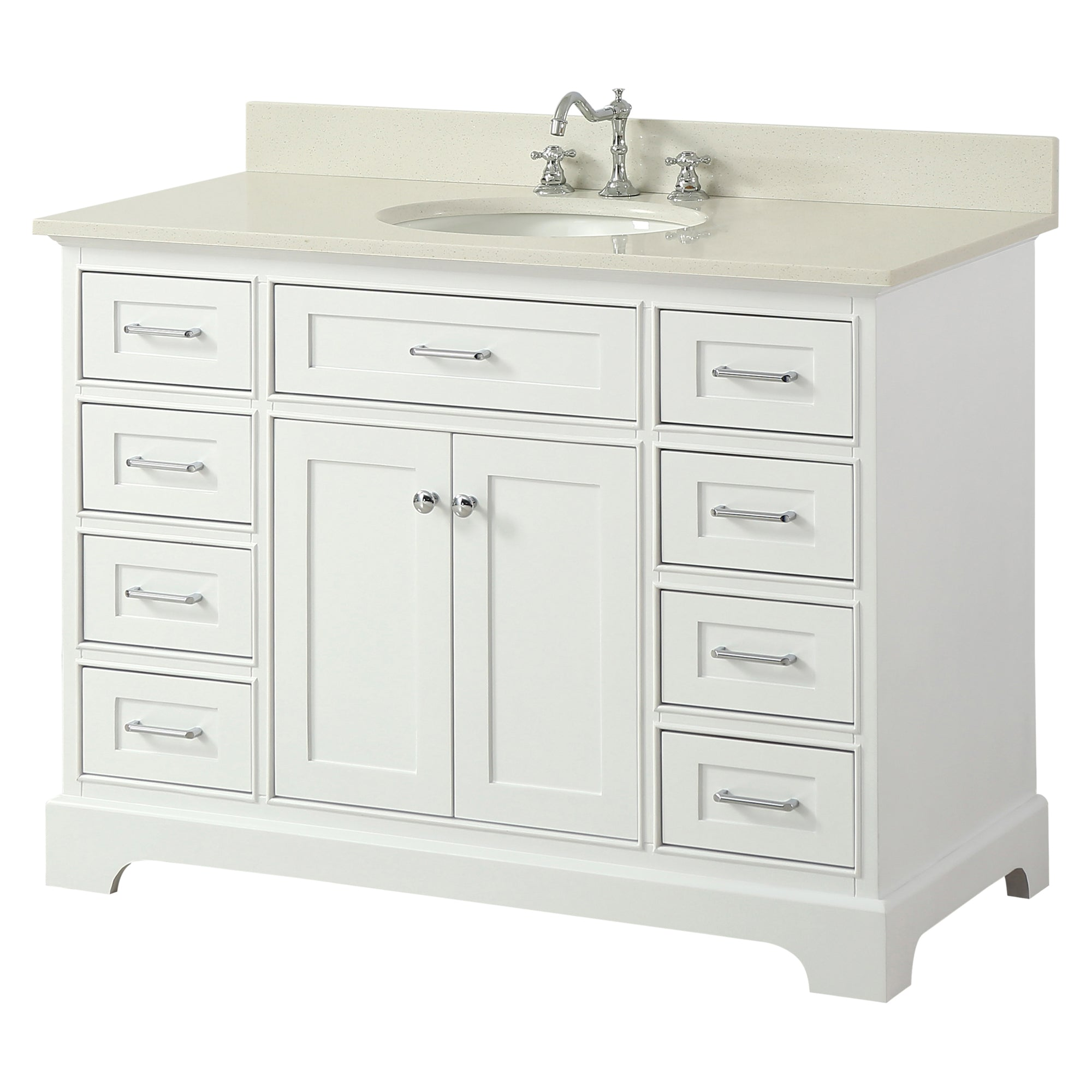 Inch Solid Wood White Bathroom Vanity Cabinet With White Quartz - Bathroom vanities under usd 200