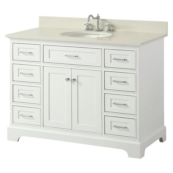 Inch Solid Wood White Bathroom Vanity Cabinet With Carrara Marble - Round bathroom vanity cabinets