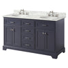 60 inch Solid Wood Bathroom Vanity Cabinet in grey/charcoal