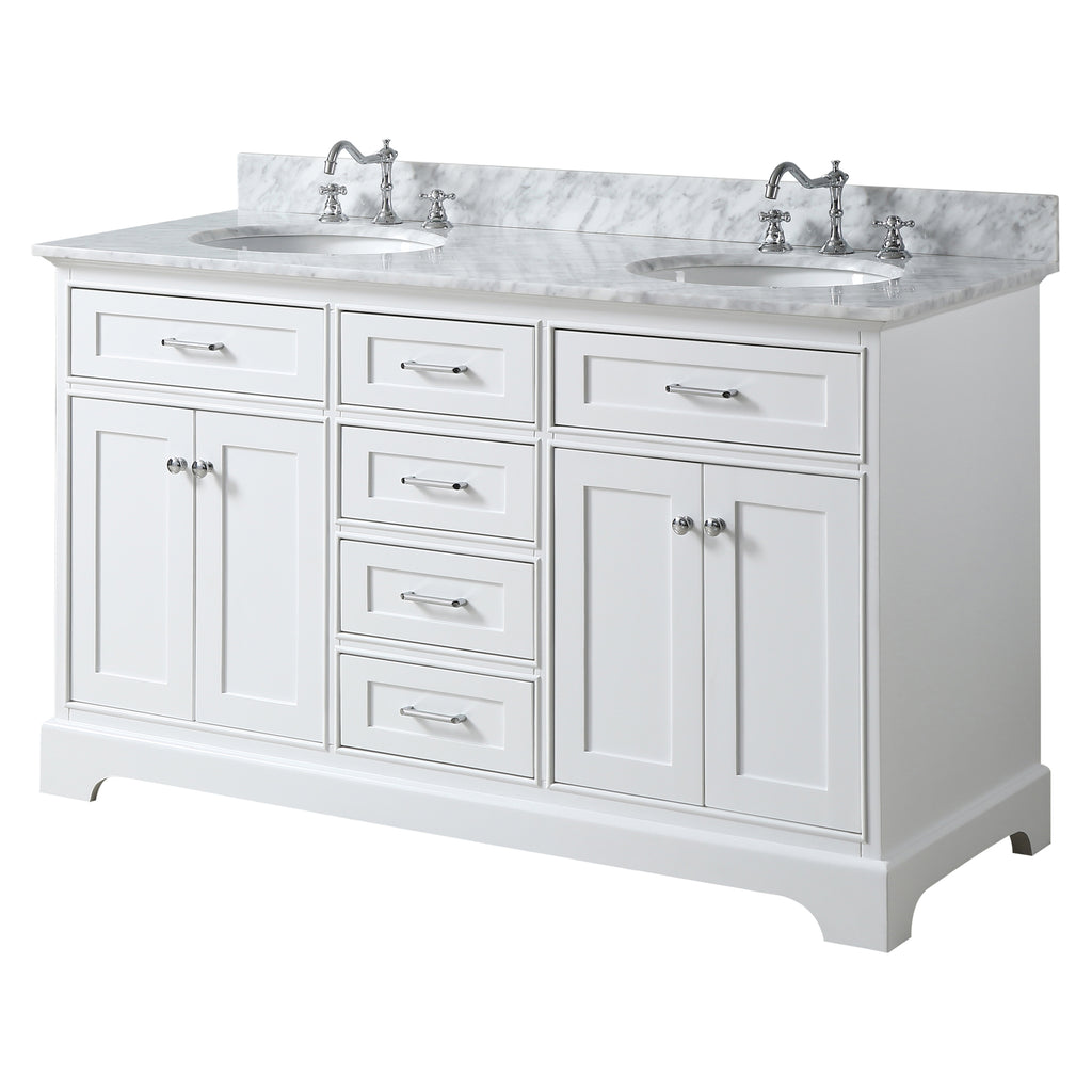 60 inch Solid Wood White Bathroom Vanity cabinet with Natural ...