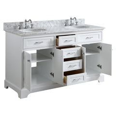 60 inch Solid Wood White Bathroom Vanity cabinet  with Natural Italian Carrara Marble Countertop &Undermountround Sink.Brush Nickel Hardware