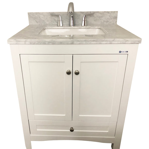 30 Inch Solid Wood White Bathroom Vanity Cabinet With 1 Drawer 2 Doors