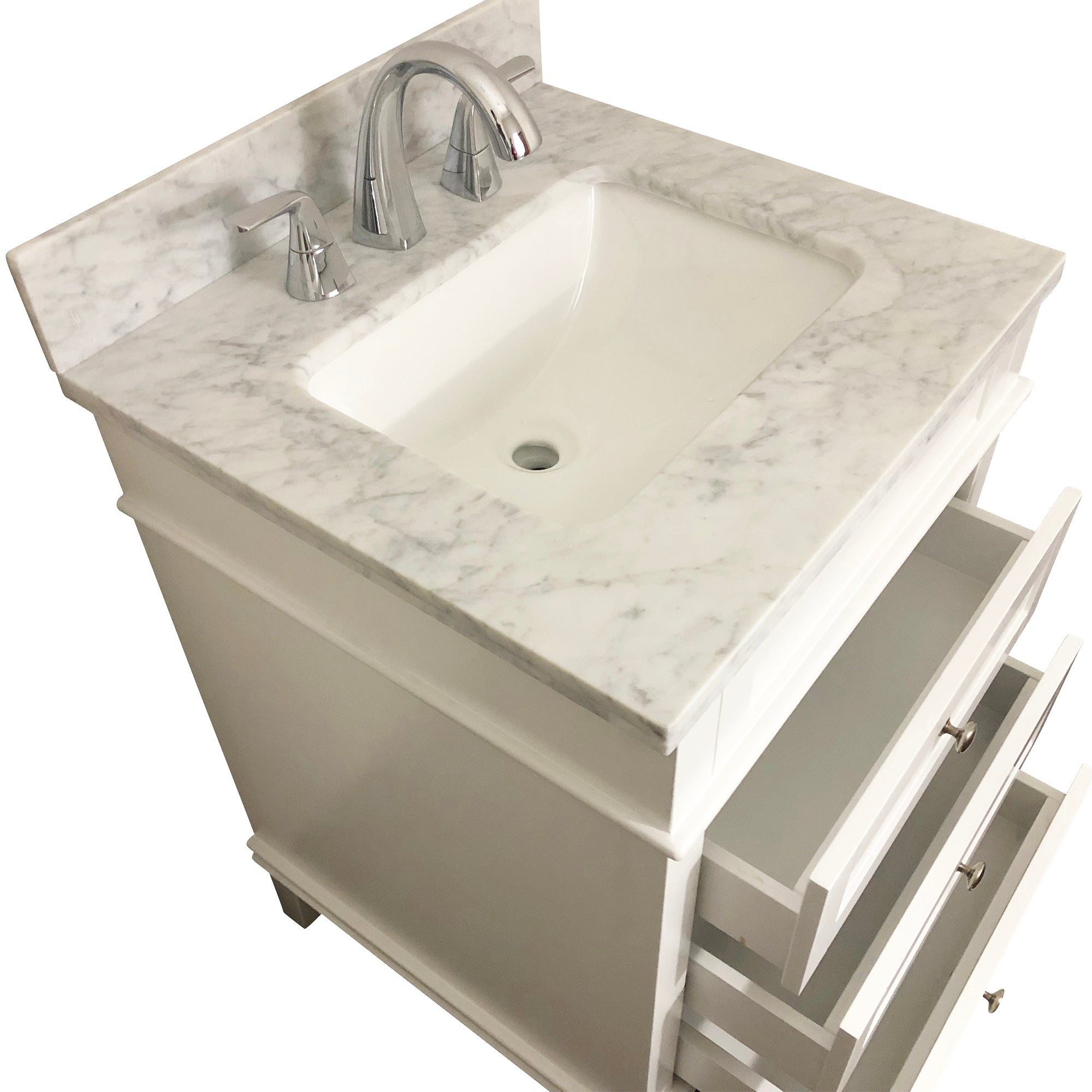24  inch Solid Wood White Bathroom Vanity Cabinet with 3 drawers ,Natural Italian Carrara Marble Countertop & brush nickle hardware