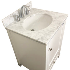 24 inch Solid Wood White Bathroom Vanity Cabinet with a drawer  ,Natural Italian Carrara Marble Countertop & brush nickle hardware