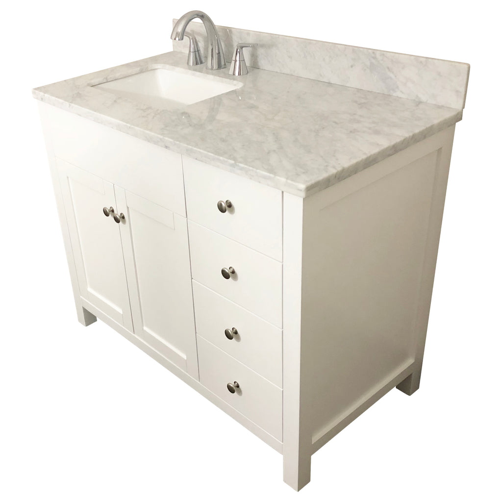 42 inch Solid Wood White Bathroom Vanity Cabinet with drawers – Swanbath
