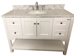 48 Inch Solid Wood White Bathroom Vanity Cabinet With Carrara Marble  Countertop ...