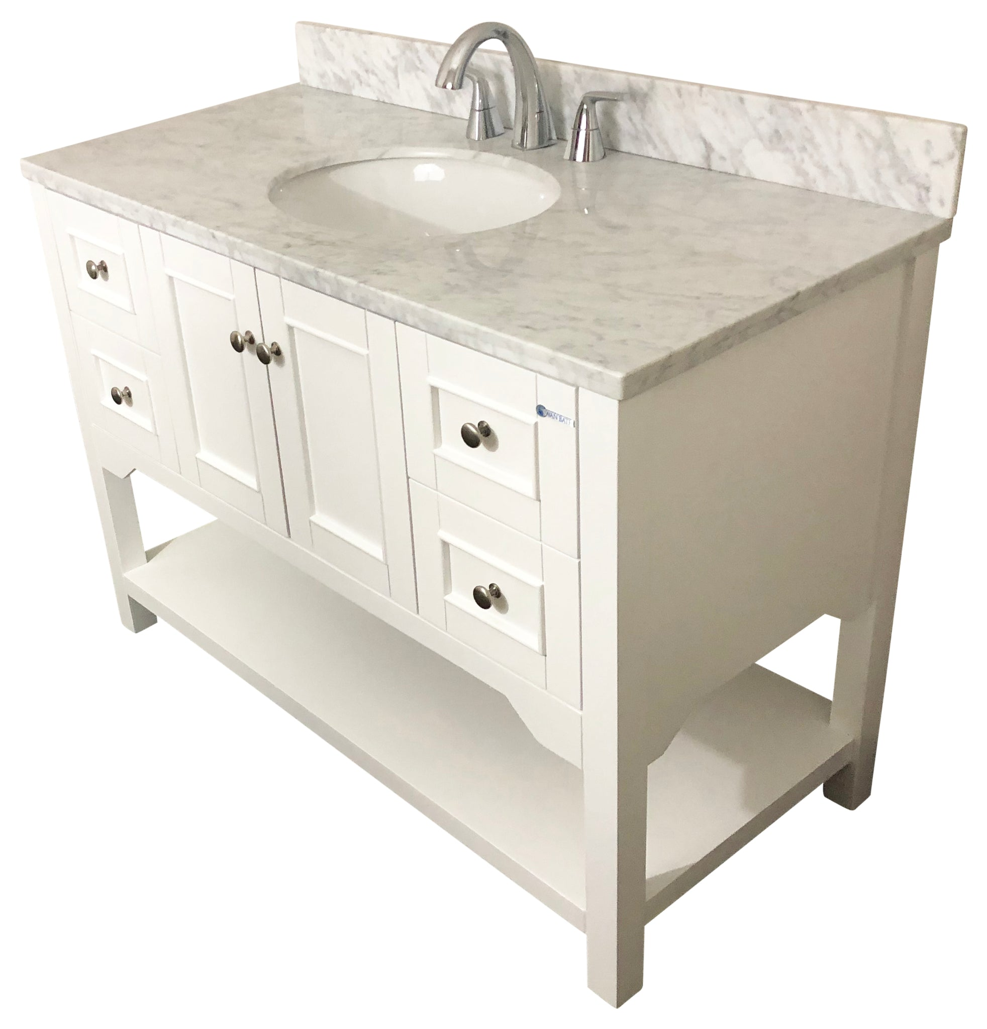 48 inch Solid Wood White Bathroom Vanity cabinet with Carrara Marble ...