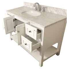 48 inch Solid Wood White Bathroom Vanity cabinet (With Ntatural Italian Carrara Marble Top)