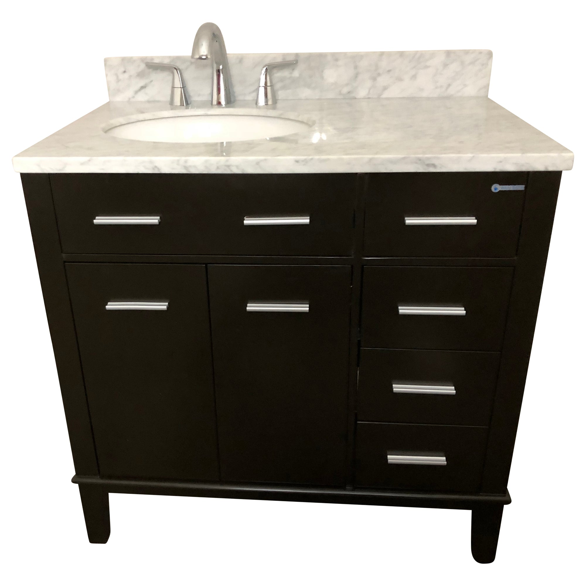 36 inch  Single Drop-In Sink Bathroom Vanity Cabinet Set with White Marble Top and Dark Coffee Finish