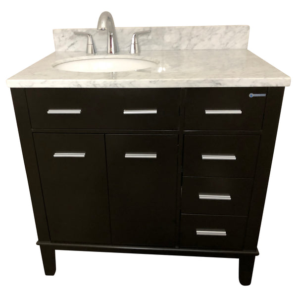 36 Inch Single Drop In Sink Bathroom Vanity Cabinet Set With White Marble  Top And
