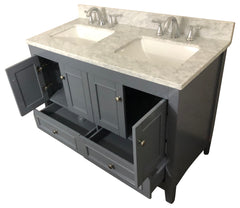48 inch Solid Wood Bathroom Vanity Cabinet in grey With Natural Italian Marble carrara Top   (without box delivery in store only)