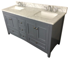 60 inch Solid Wood Bathroom Vanity Cabinet in grey  (With Natural Italian Carrara marble Top)