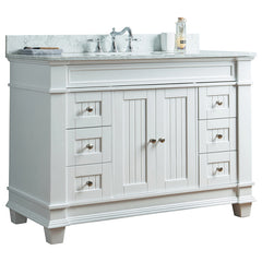 48 inch Solid Wood White/grey Bathroom Vanity Cabinet  with Natural Italian Carrara Marble Countertop &Undermount   Sink.