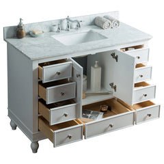 48 inch Solid Wood  Bathroom Vanity Cabinet in grey/white with Carrara Marble Countertop &Under-mount white   ceramic sink