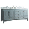 72 inch Solid Wood Bathroom Vanity Cabinet in grey  with Carrara Marble Counter top & two Under mount white  ceramic sinks,