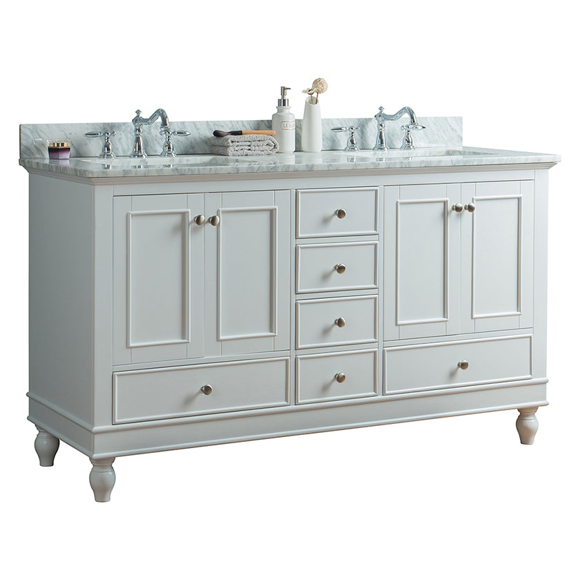 60 inch Solid Wood Bathroom Vanity Cabinet in white with Carrara Marble Counter top & two Under mount white  ceramic sinks