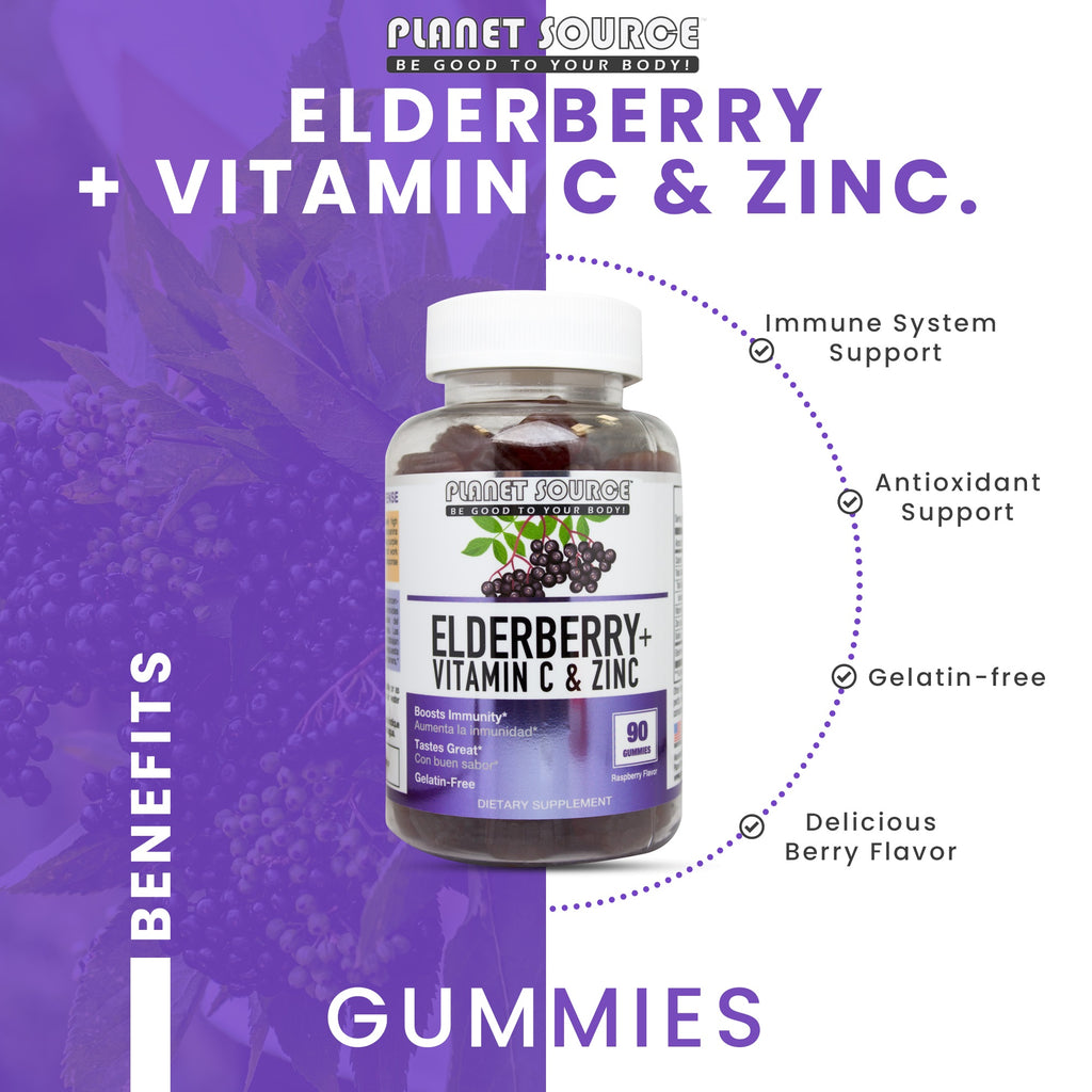 Elderberry + Vitamin C & Zinc Gummies 90 count (gelatin-free) Raspberry flavor - Planet Source